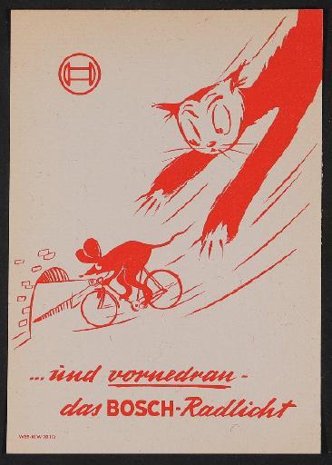 Bosch Radlicht Werbeblatt Löschblatt 1960er Jahre