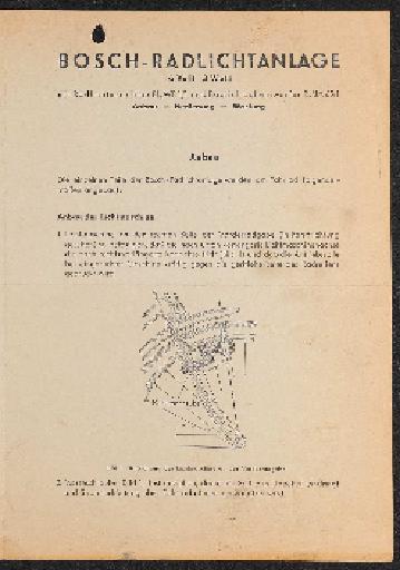 Bosch Radlichtanlage Bedienungsanleitung 1955