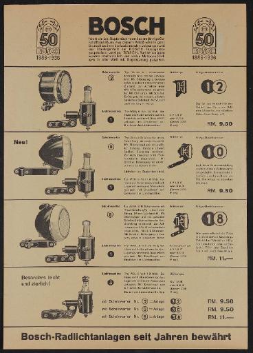Bosch Radlichtanlagen  Werbeblatt 1936