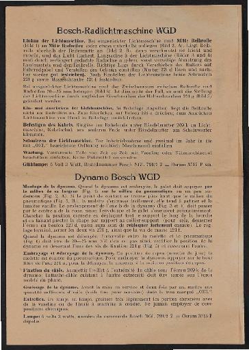 Bosch Radlichtmaschine WGD Infoblatt (mehrsprachig) 1939