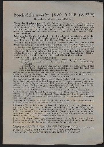 Bosch Scheinwerfer JB 80  A 24 P  (A 27 P) Infoblatt 1939