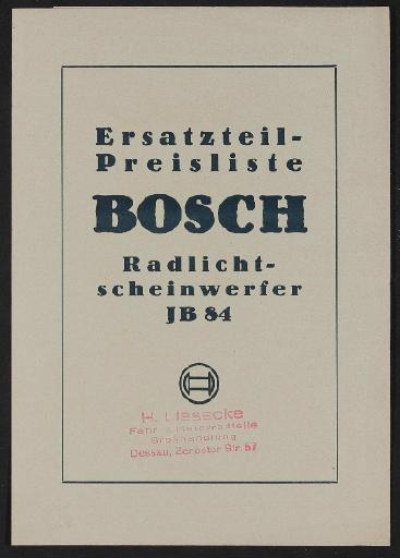 Bosch Scheinwerfer JB 84  Ersatzteil- Preisliste 1934