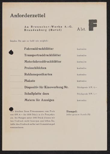 Brennabor  Anforderzettel 1930er Jahre