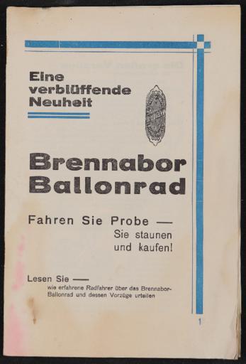 Brennabor Ballonrad Werbeschrift 1928
