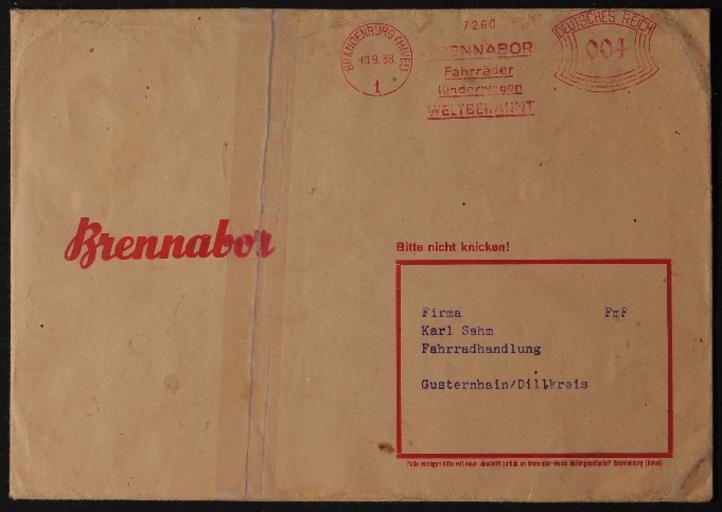 Brennabor Briefumschläge 1938 1939