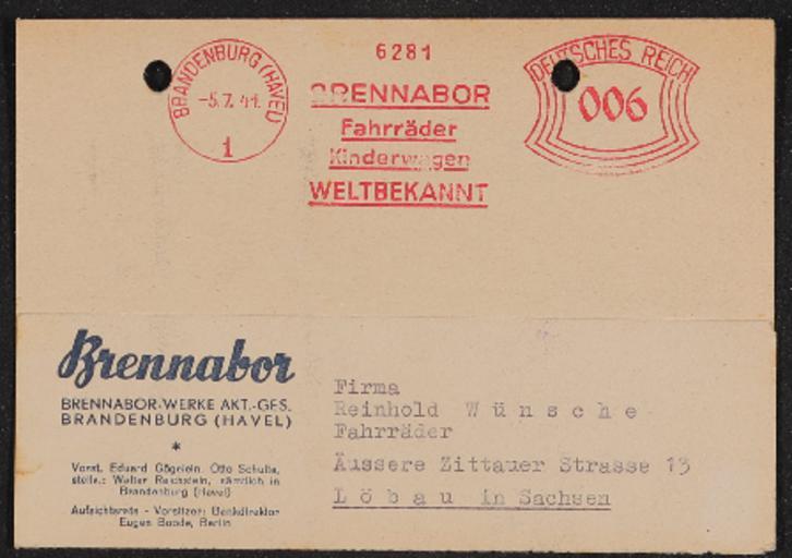 Brennabor Händler Postkarte Bereifungszuteilung 1941