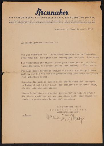 Brennabor Händlerrundschreiben 1938