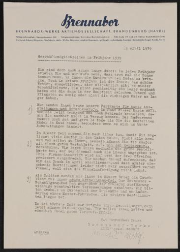 Brennabor Händlerrundschreiben 1939