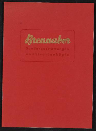 Brennabor Katalog Sonderausstattungen und Strahlenköpfe 1937