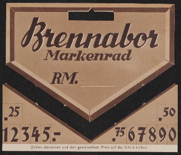 Brennabor Kinderdreiräder Preisschild 1930er jahre