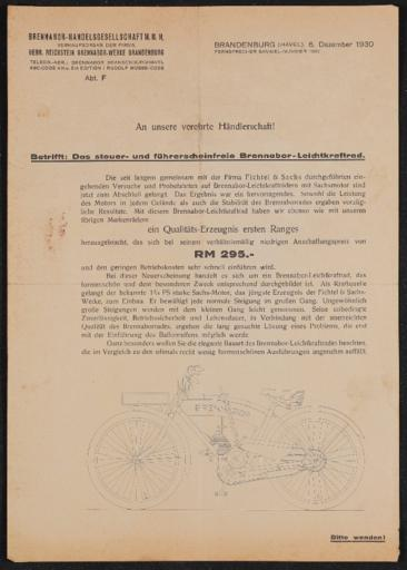 Brennabor Leichtkraftrad Händlerrundschreiben 1930