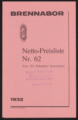 Brennabor Netto-Preisliste Nr. 62 1932
