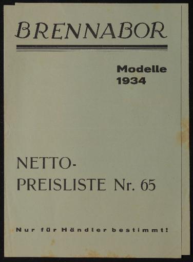 Brennabor Netto-Preisliste Nr.65 1934