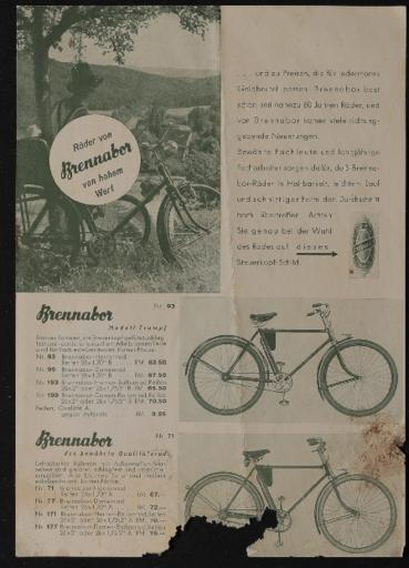 Brennabor Räder von hohem Wert Prospektblatt 1937