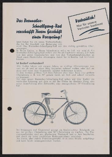 Brennabor Schnellgang- Faltblatt 1936