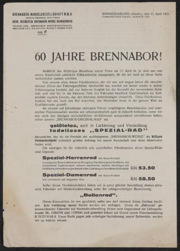 Brennabor Werbeblatt 1931