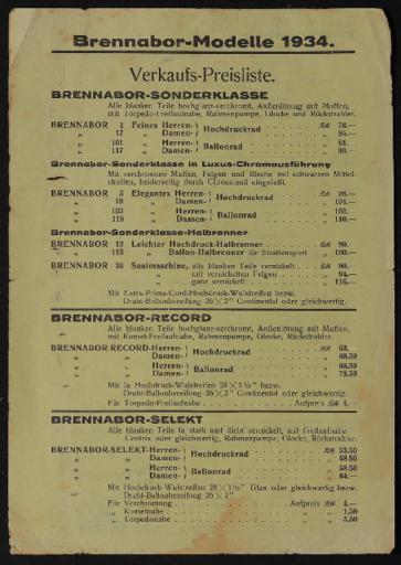 Brennabor-Modelle 1934 Verkaufspreisliste 1934