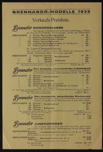 Brennabor-Modelle 1935 Verkaufspreisliste 1935