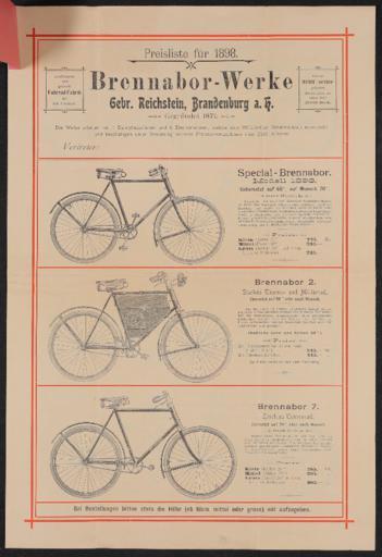 Brennabor-Werke Preisliste 1898