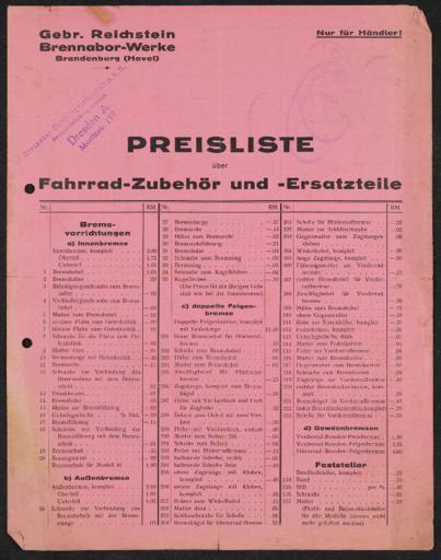 Brennabor-Werke Preisliste Ersatzteile 1930er Jahre