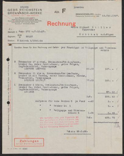 Brennabor-Werke Rechnungen 1927-1930