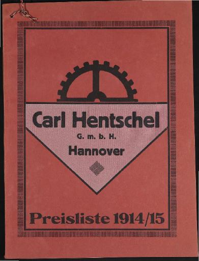 Carl Hentschel Fahrrad-Zubehörteile Preisliste 1914