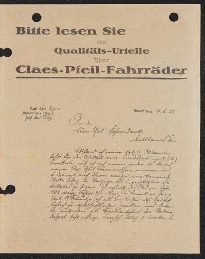 Claes-Pfeil-Fahrräder Qualitäts-Urteile Werbeblätter 1925