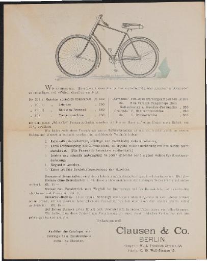 Clausen Co. Werbeblatt 1896