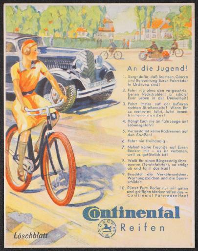 Continental Reifen Werbeblatt 30er Jahre