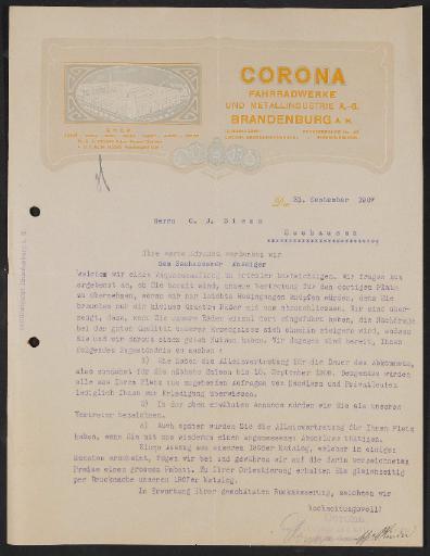 Corona Fahrradwerke, Anfrageschreiben 1907