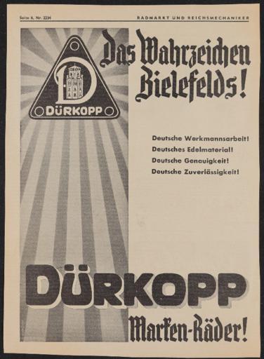 Dürkopp Annonce im Radmarkt und Reichsmechaniker 1930er Jahre