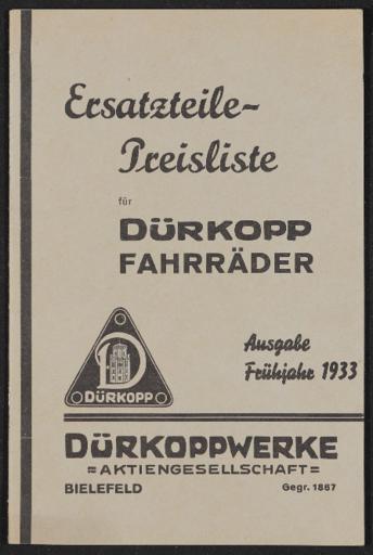 Dürkopp Fahrräder Ersatzteile-Preisliste 1933