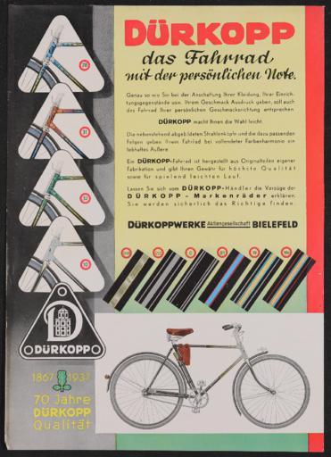 Dürkopp Fahrräder Werbeblatt 1937