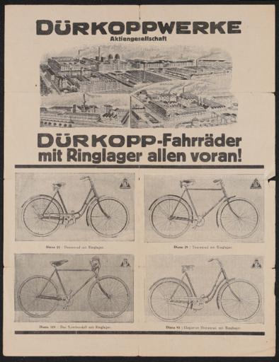 Dürkopp Fahrräder mit Ringlager Werbeblatt 1920er Jahre