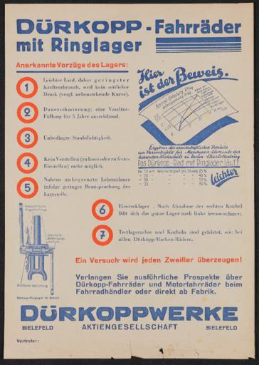 Dürkopp Fahrräder mit Ringlager Werbeblatt 1930er Jahre