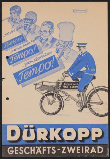 Dürkopp Geschäfts-Zweirad Werbeblatt 1930er Jahre
