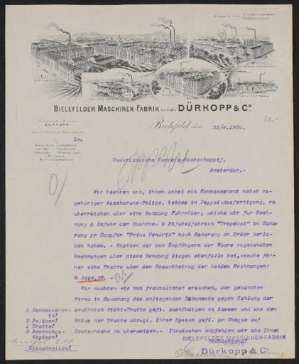 Dürkopp Geschäftsbrief 1904