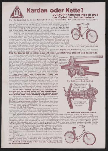 Dürkopp Kettenlos Werbeblatt 1935