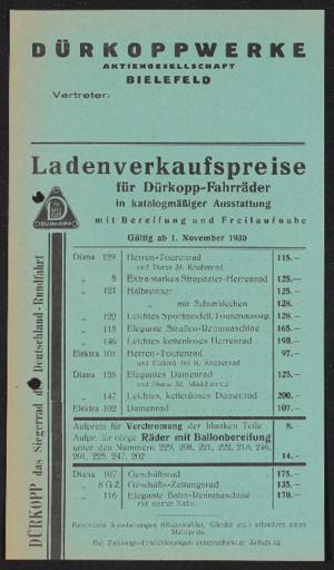 Dürkopp Ladenverkaufspreise 1930