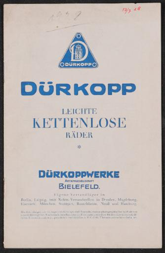 Dürkopp Leichte Kettenlose Fahrräder Katalog 1928