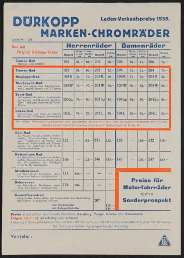Dürkopp Marken-Chromräder Preisliste 1935
