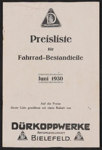 Dürkopp Preisliste für Fahrrad-Bestandteile 1930