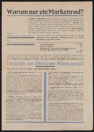 Dürkopp Werbeblatt 1932