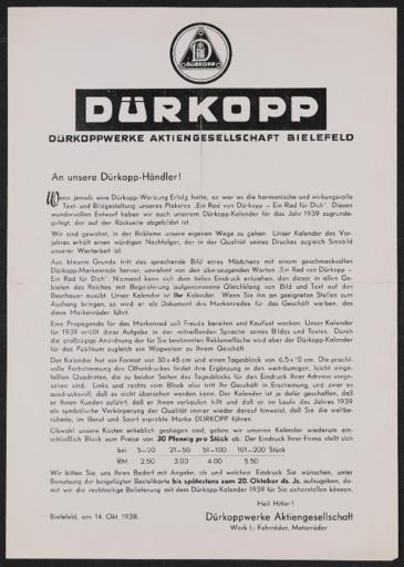 Dürkopp information an Händler 1938