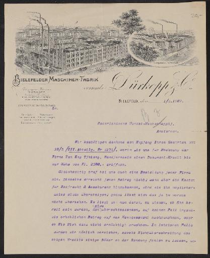 Dürkopp, Anschreiben (Blatt 2 fehlt) 1907
