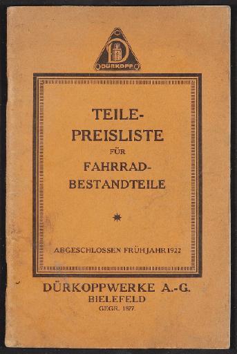 Dürkopp, Teile-Preisliste 1922