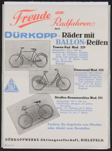 Dürkopp-Räder mit Ballon-Reifen Werbeblatt 1930