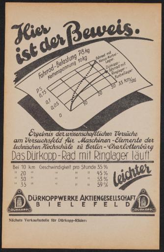 Dürkopp-Rad mit Ringlager Werbeblatt 1930er Jahre