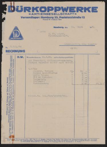 Dürkoppwerke Rechnungen 1930