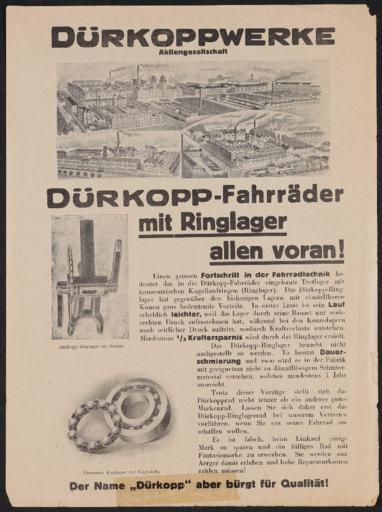 Dürkoppwerke Ringlager Werbeblatt 1920er Jahre